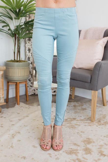 Zipper Detail Moto Stitch Leggings - Dusty Blue