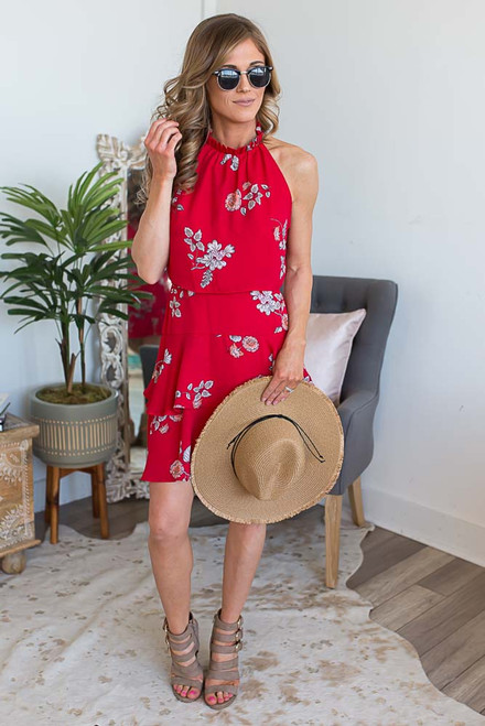 BB Dakota Candence Floral Dress - Red