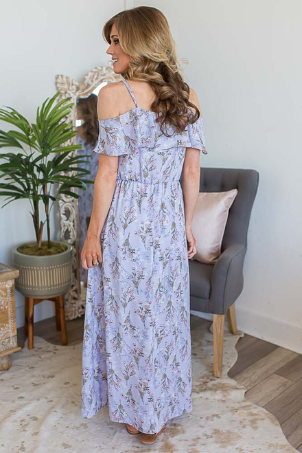 Everly Floral Cold Shoulder Maxi - Lilac - FINAL SALE