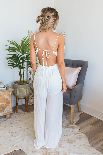 Embroidered Cutout Jumpsuit - Ivory