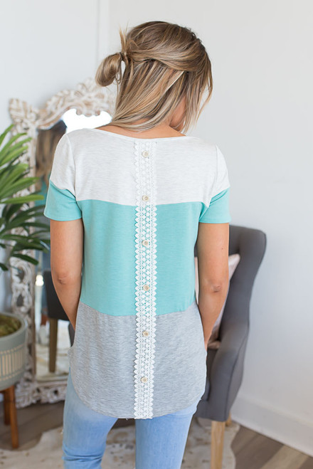 Button Back Colorblock Top - Dusty Mint - FINAL SALE