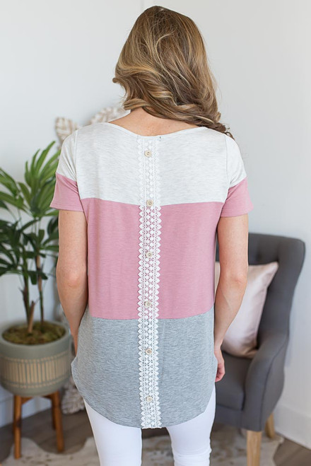 Button Back Colorblock Top - Dusty Rose - FINAL SALE
