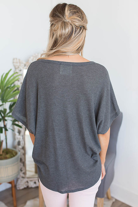 Short Sleeve Thermal Knot Top - Charcoal