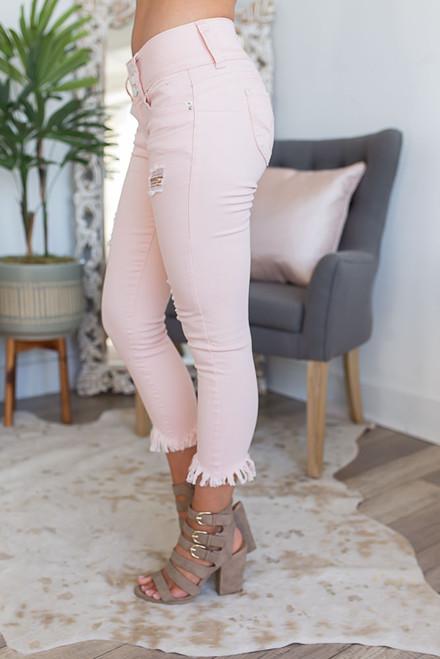 Key West Frayed Crop Jeans - Pink - FINAL SALE