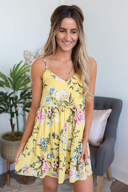 Everly Floral Babydoll Dress - Yellow Multi