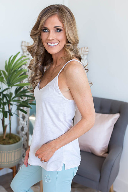 Starstruck V-Neck Lightweight Tank - Sand - FINAL SALE