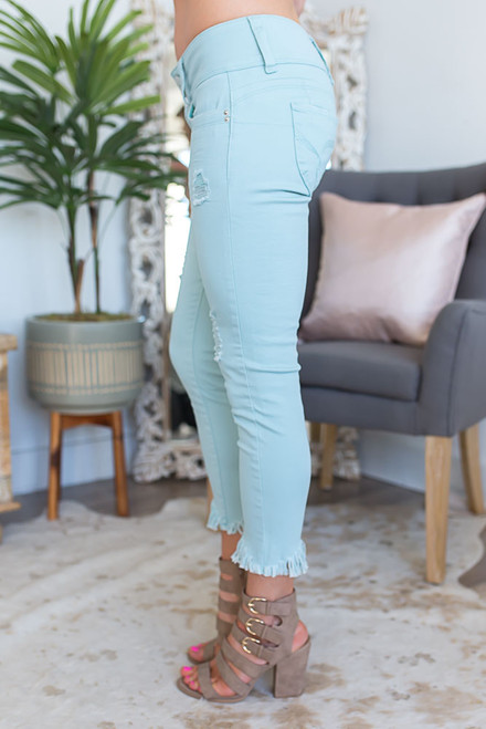 Key West Frayed Crop Jeans - Dusty Aqua - FINAL SALE