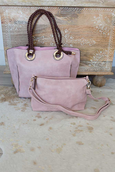 Seaside Retreat Distressed Handbag - Dusty Blush - FINAL SALE
