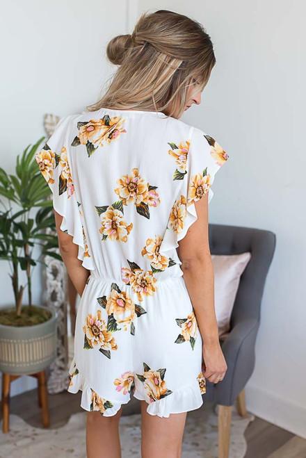 Tahitian Floral Ruffle Romper - Ivory Multi