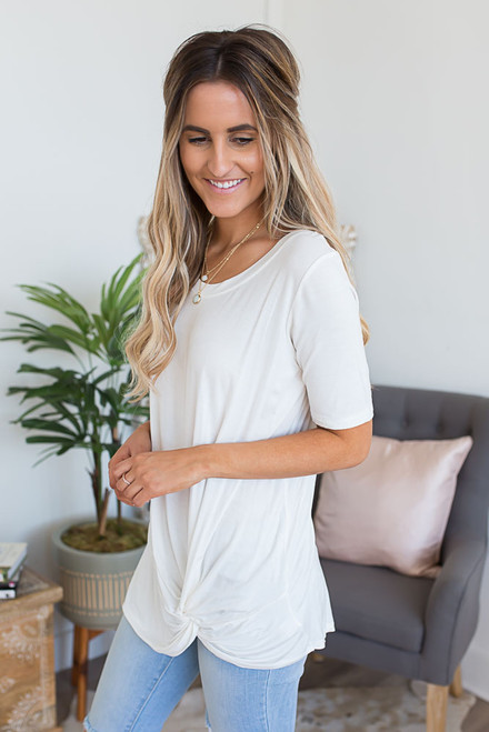 Short Sleeve Knotted Knit Tunic - Ivory