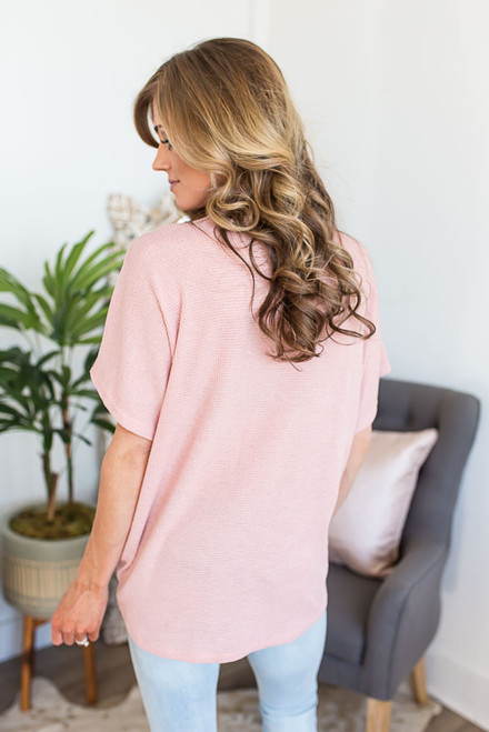 Short Sleeve Thermal Knot Top - Blush