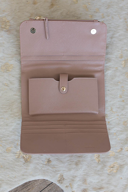 Julianne Crossbody Wallet - Dusty Pink