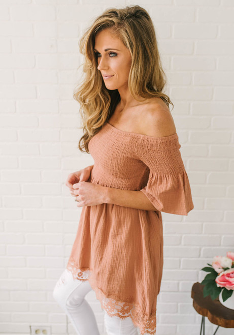 Off the Shoulder Smocked Tunic - Coral Sands  - FINAL SALE
