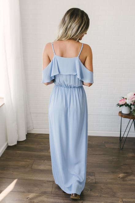 Everly Cold Shoulder Maxi Dress - Arctic Blue