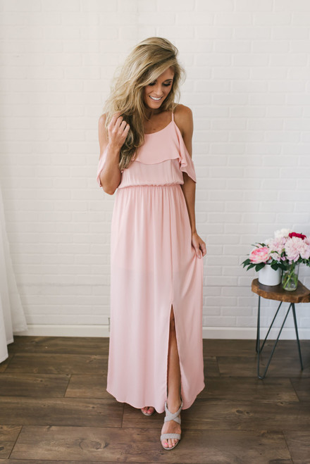 Everly Cold Shoulder Maxi Dress - Tropical Peach