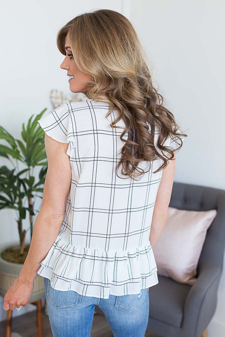 Ruffle Windowpane Peplum Top - Off White/Black
