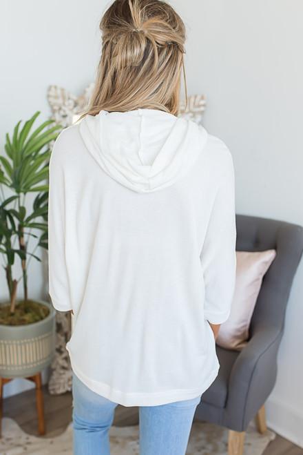 Hooded Drawstring Pocket Pullover - Ivory
