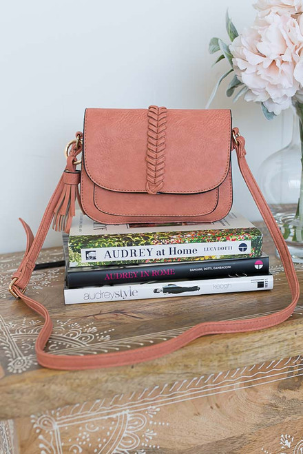 Braided Accent Tassel Crossbody - Coral Reef