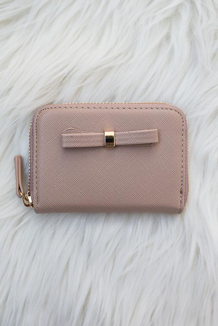 Sophie Bow Accented Coin Purse - Taupe