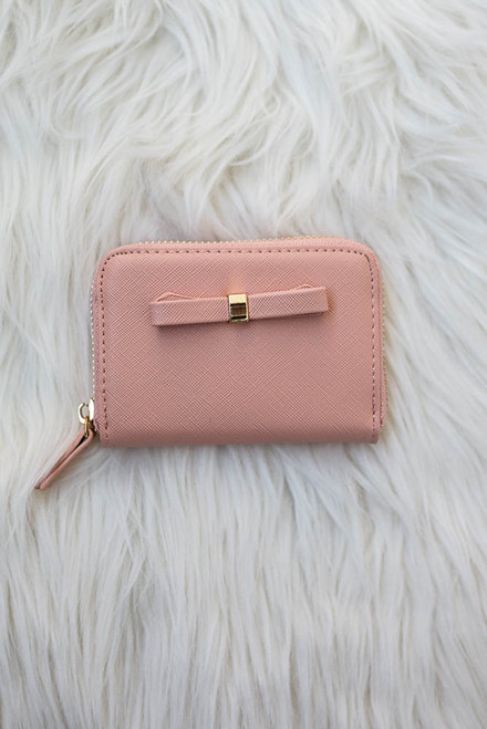 Sophie Bow Accented Coin Purse - Peach Bellini