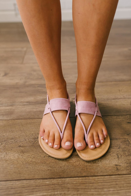 Distressed Banded Thong Sandals - Dusty Lilac - FINAL SALE