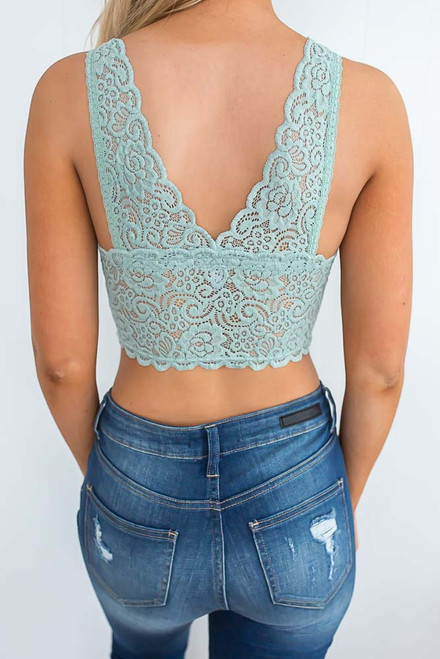 Padded Lace Bralette - Dusty Mint