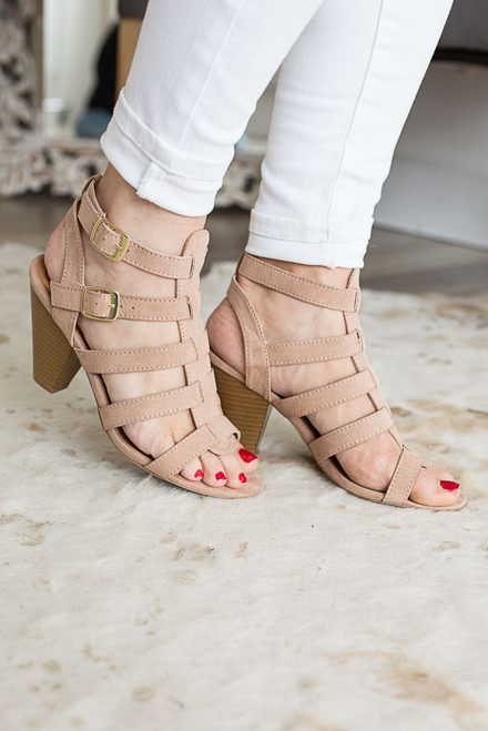 Isabelle Strappy Heel Sandals - Taupe