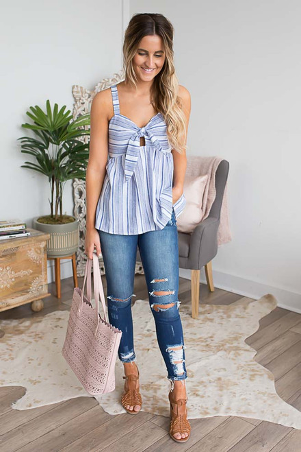 Tie Front Striped Babydoll Top - Blue/White