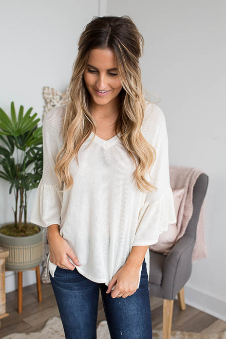 V-Neck Ruffle Sleeve Ribbed Top - Ivory