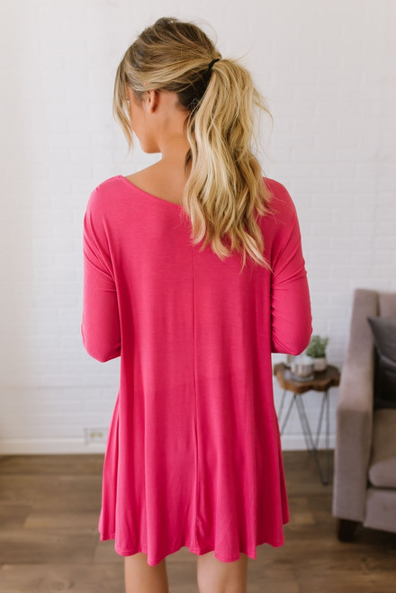 3/4 Sleeve Knit Pocket Tunic Dress - Sunkissed Coral - FINAL SALE