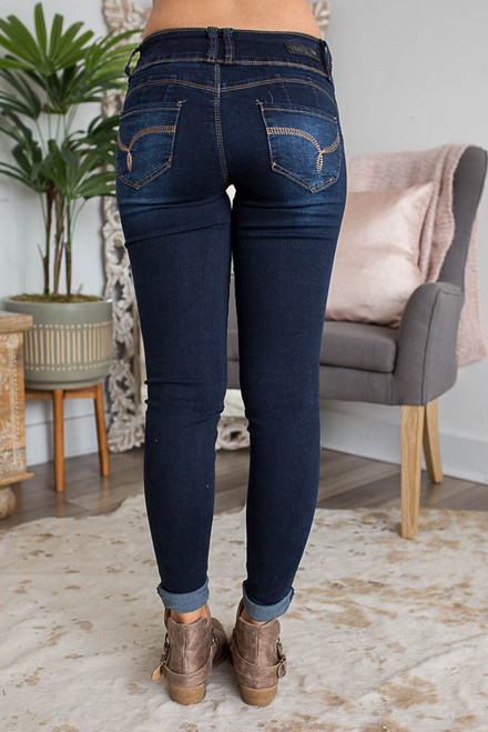 Coastal Crush Triple Button Skinny Jeans - Dark Wash