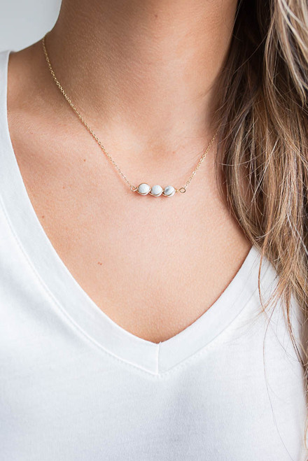 Triple Marble Stone Necklace - White/Gold