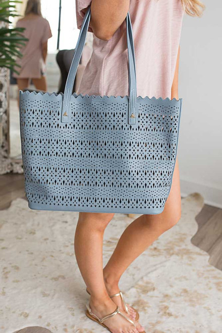 Breakfast at Tiffany's Cutout Handbag - Dusty Blue