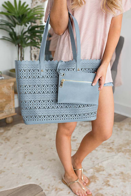 Breakfast at Tiffany's Cutout Handbag - Dusty Blue