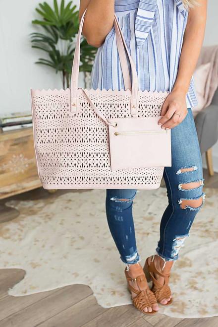 Breakfast at Tiffany's Cutout Handbag - Light Pink