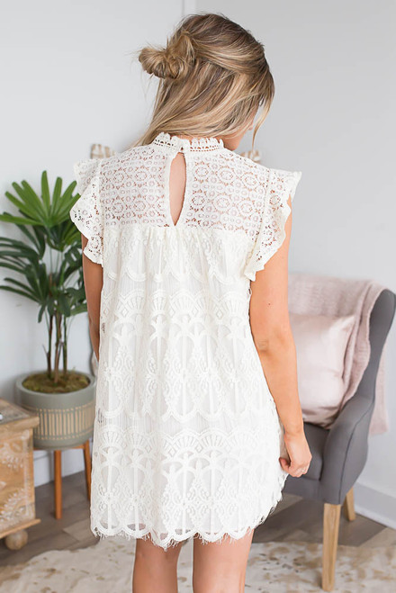 Mock Neck Ruffle Sleeve Lace Dress - Ivory