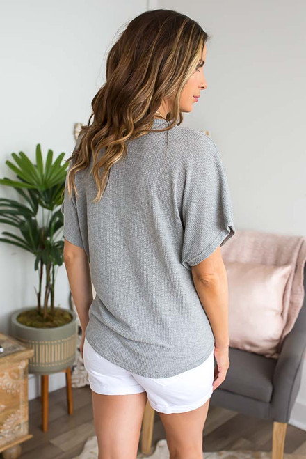 Short Sleeve Thermal Knot Top - Heather Grey