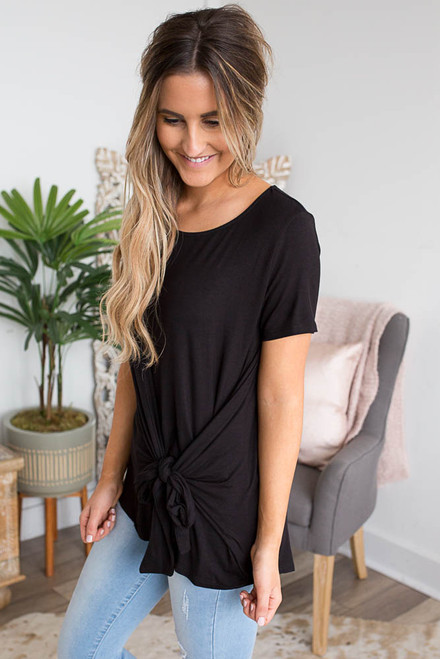 Short Sleeve Knotted Top - Black