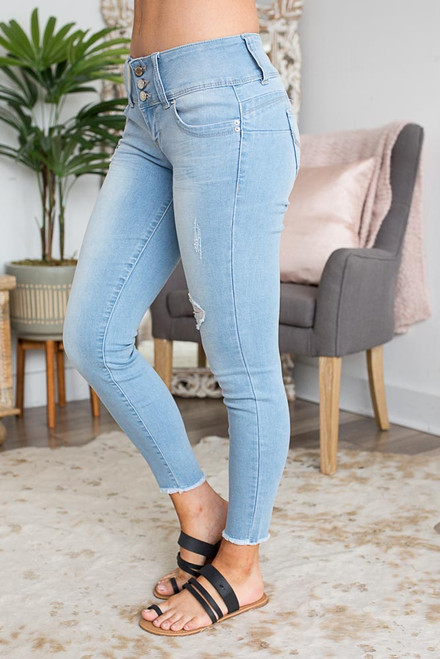 Triple Button Faded Skinny Jeans - Light Wash
