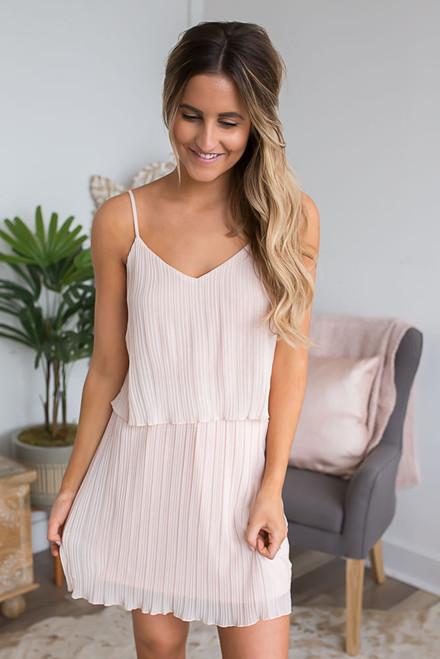 Endless Love Pleated Dress - Pale Peach
