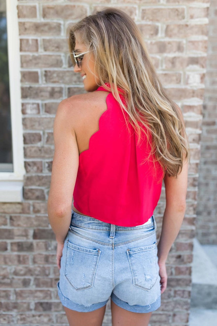 Rizzo Scalloped Crop Top - Red