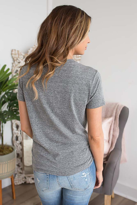Peachy Graphic Tee - Heather Charcoal