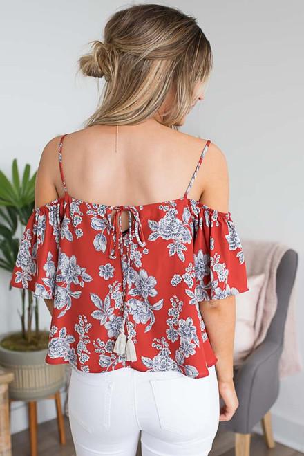 Cold Shoulder Floral Print Top - Sienna