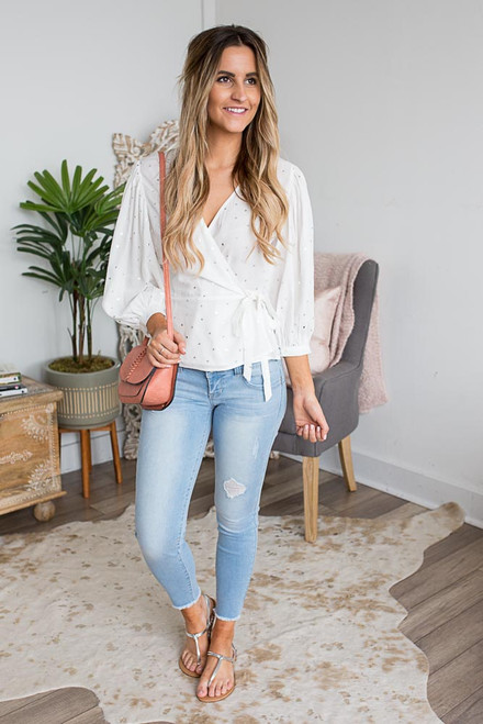 Metallic Dotted Wrap Top - Off White/Silver