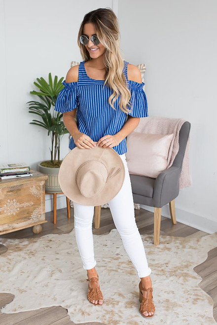 Everly Striped Cold Shoulder Top - Marina Blue/White