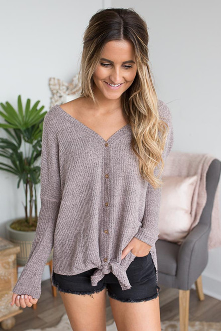 Thermal Button Down Knot Top - Heather Pink