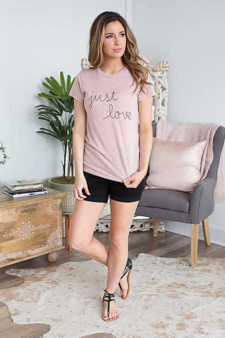 Just Love Embroidered Tee - Dusty Rose