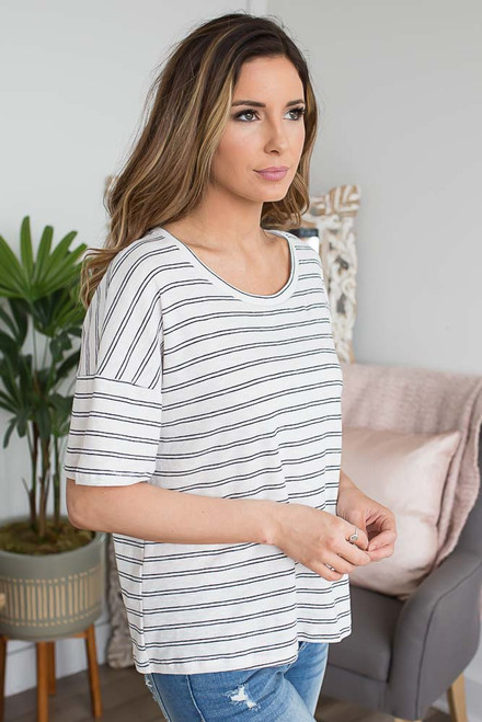 Sail Away Striped Tee - Off White/Black - FINAL SALE