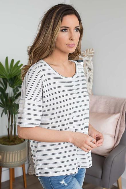 Sail Away Striped Tee - Off White/Black
