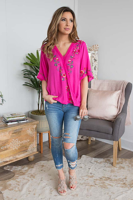 Floral Embroidered Surplice Top - Hot Pink